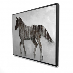 Framed 48 x 60 - 3D - Gambading abstract horse