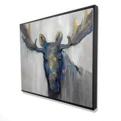 Framed 48 x 60 - 3D - Blue moose