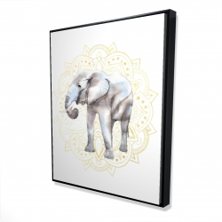 Framed 48 x 60 - 3D - Elephant on mandalas pattern