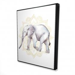 Framed 48 x 60 - 3D - Elephant on mandalas