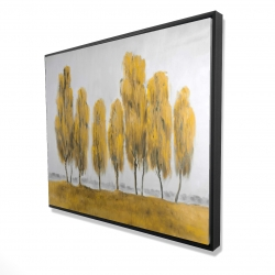 Framed 48 x 60 - 3D - Seven abstract yellow trees