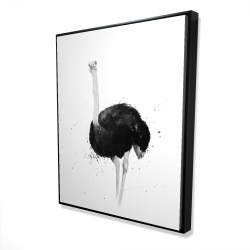 Framed 48 x 60 - 3D - Ostrich in watercolor