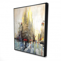 Framed 48 x 60 - 3D - Abstract rainy street