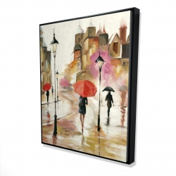 Framed 48 x 60 - 3D - Passersby under their umbrellas