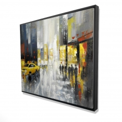 Framed 48 x 60 - 3D - Rainy busy street