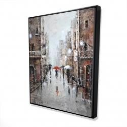 Framed 48 x 60 - 3D - City rain