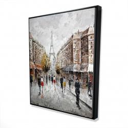 Framed 48 x 60 - 3D - Paris busy street