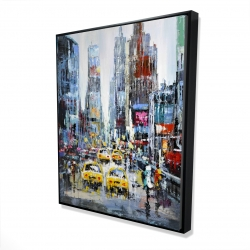 Framed 48 x 60 - 3D - Urban scene with yellow taxis