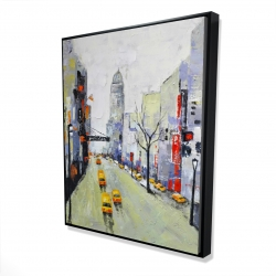 Framed 48 x 60 - 3D - Gray street with yellow and red accents