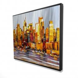 Framed 48 x 60 - 3D - Orange buildings
