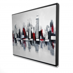 Framed 48 x 60 - 3D - Gray and red cityscape
