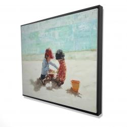Framed 48 x 60 - 3D - Little girls at the beach