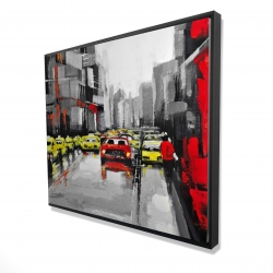 Framed 48 x 60 - 3D - Abstract traffic by a rainy day