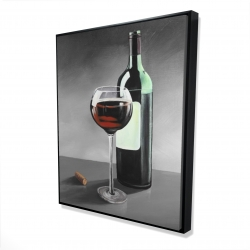 Framed 48 x 60 - 3D - Bottle of burgundy