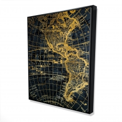 Framed 48 x 60 - 3D - Blue and marine world map globe