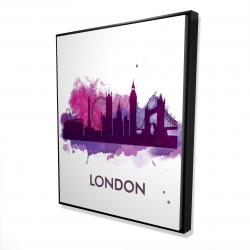 Framed 48 x 60 - 3D - Purple silhouette of london