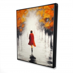 Framed 48 x 60 - 3D - Woman with a red coat by fall