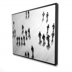 Framed 48 x 60 - 3D - Overhead view of people on the street