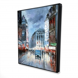 Framed 48 x 60 - 3D - Abstract red and blue city