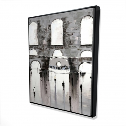 Framed 48 x 60 - 3D - Gray building with passersby