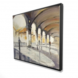 Framed 48 x 60 - 3D - People in a spacious hall