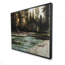 Framed 48 x 60 - 3D - Cabin in the forest