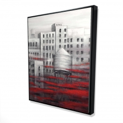 Framed 48 x 60 - 3D - Gray city with red clouds