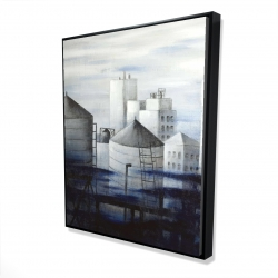 Framed 48 x 60 - 3D - Gray city with blue clouds