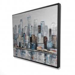 Framed 48 x 60 - 3D - Abstract urban skyline