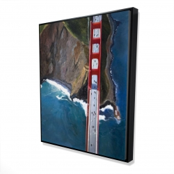 Framed 48 x 60 - 3D - Overhead view of the golden gate and mountains