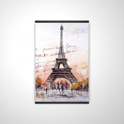 Magnetic 20 x 30 - 3D - Eiffel tower sketch with an handwritten message