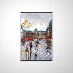 Magnetic 20 x 30 - 3D - People walking across the street by a rainy day