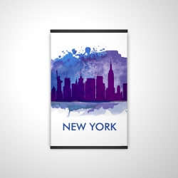 Magnetic 20 x 30 - 3D - Blue silhouette of new york city