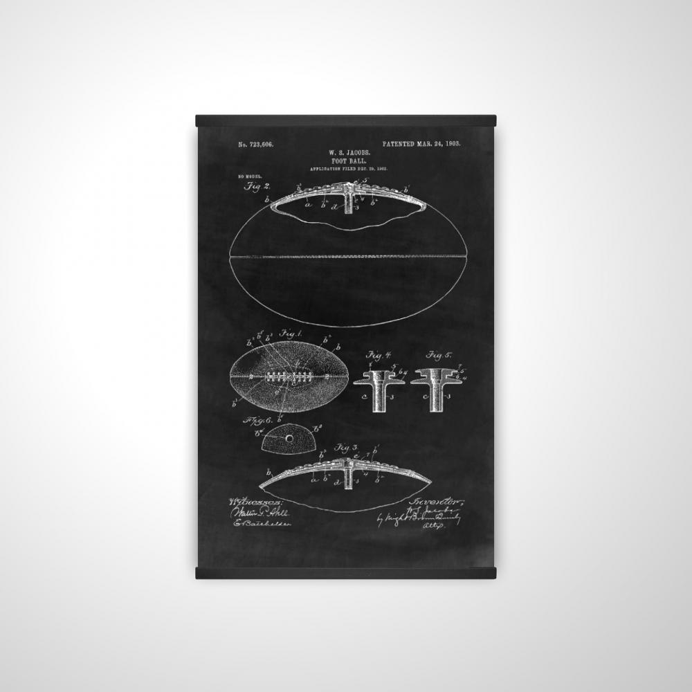 Black blueprint of a foot ball