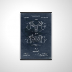 Magnetic 20 x 30 - 3D - Football protective apparel blueprint in blue