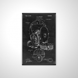 Magnetic 20 x 30 - 3D - Black blueprint of a football helmet