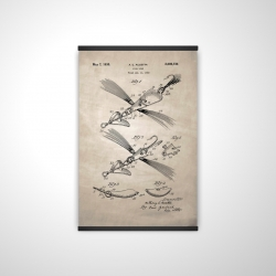 Magnetic 20 x 30 - 3D - Beige blueprint of a fish lure