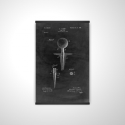 Magnetic 20 x 30 - 3D - Black blueprint of golf tee