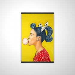 Magnetic 20 x 30 - 3D - Retro woman with beautiful ponytail