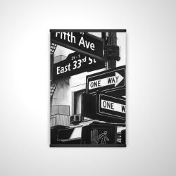 Magnetic 20 x 30 - 3D - New york city signs in front of an appartment