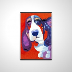 Magnetic 20 x 30 - 3D - Abstract colorful basset dog