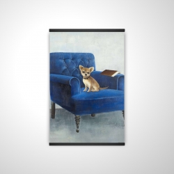 Magnetic 20 x 30 - 3D - Chihuahua on a blue armchair