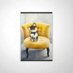 Magnetic 20 x 30 - 3D - Long-haired chihuahua on a yellow armchair