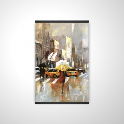 Magnetic 20 x 30 - 3D - People with umbrellas walking across the street