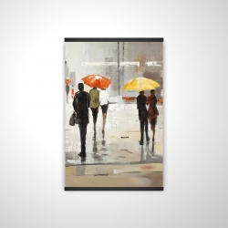 Magnetic 20 x 30 - 3D - Abstract passersby with umbrellas