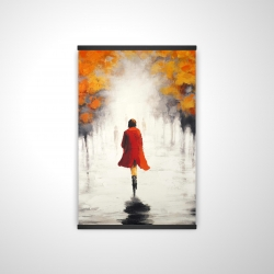 Magnetic 20 x 30 - 3D - Woman with a red coat by fall