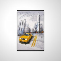 Magnetic 20 x 30 - 3D - Yellow taxi and city sketch