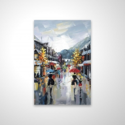 Magnetic 20 x 30 - 3D - Passersby in the street by rainy day of fall