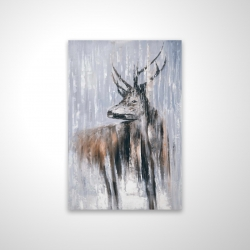 Magnetic 20 x 30 - 3D - Deer in the forest by a rainy day