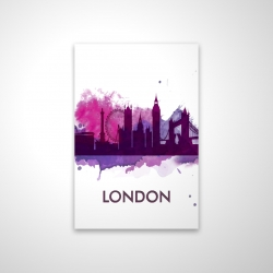 Magnetic 20 x 30 - 3D - Purple silhouette of london